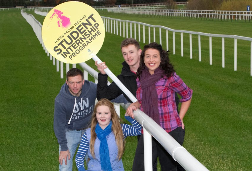 Horse Racing Ireland - Student Intership Programme launch, at Leopardstown racecourse. Pictured are: Laura Joy from Tipperary, Ian Hickey from Rathfarnham, Stephen Mulvaney Leopardstown and Molly Sidi